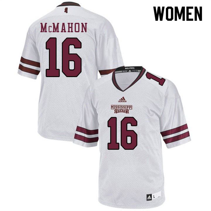 Women #16 TJ McMahon Mississippi State Bulldogs College Football Jerseys Sale-White