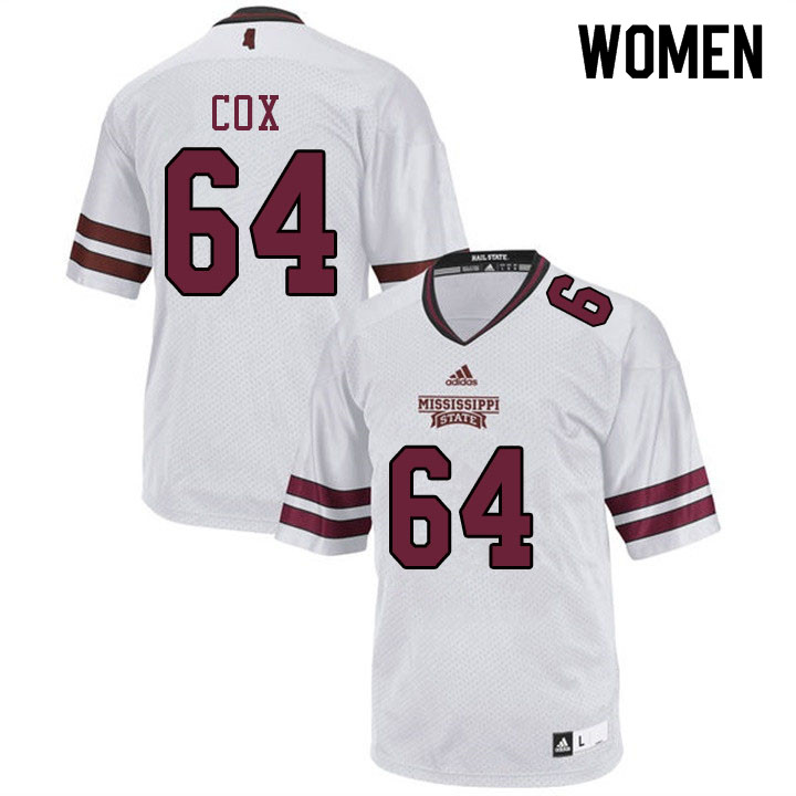 Women #64 Thomas Cox Mississippi State Bulldogs College Football Jerseys Sale-White