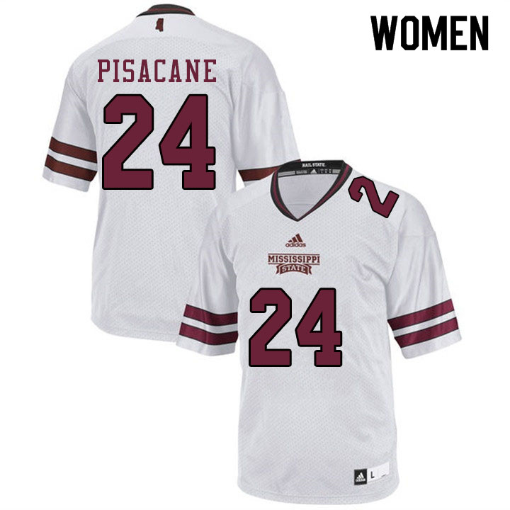 Women #24 Tristan Pisacane Mississippi State Bulldogs College Football Jerseys Sale-White