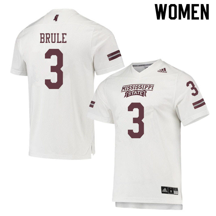 Women #3 Aaron Brule Mississippi State Bulldogs College Football Jerseys Sale-White