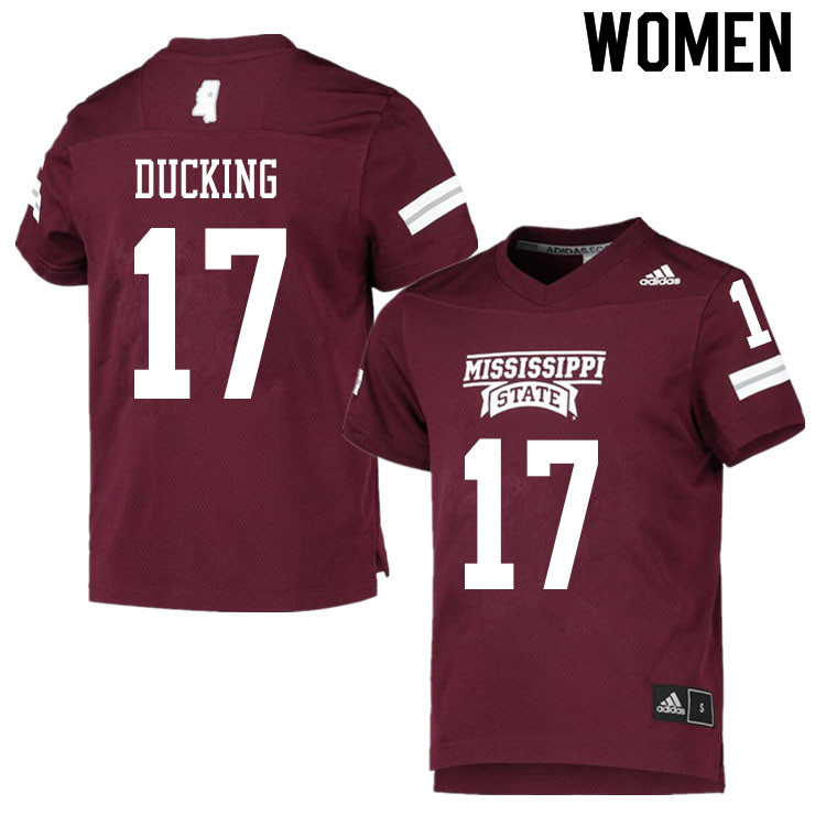 Women #17 Caleb Ducking Mississippi State Bulldogs College Football Jerseys Sale-Maroon
