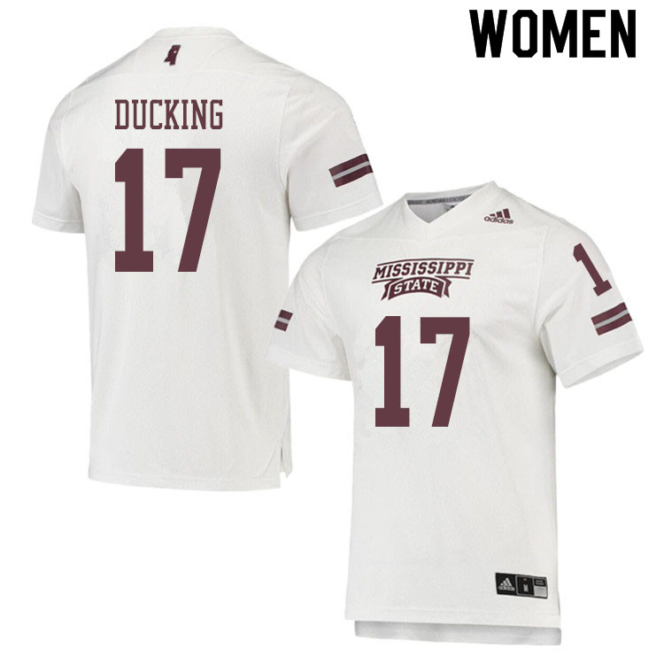 Women #17 Caleb Ducking Mississippi State Bulldogs College Football Jerseys Sale-White