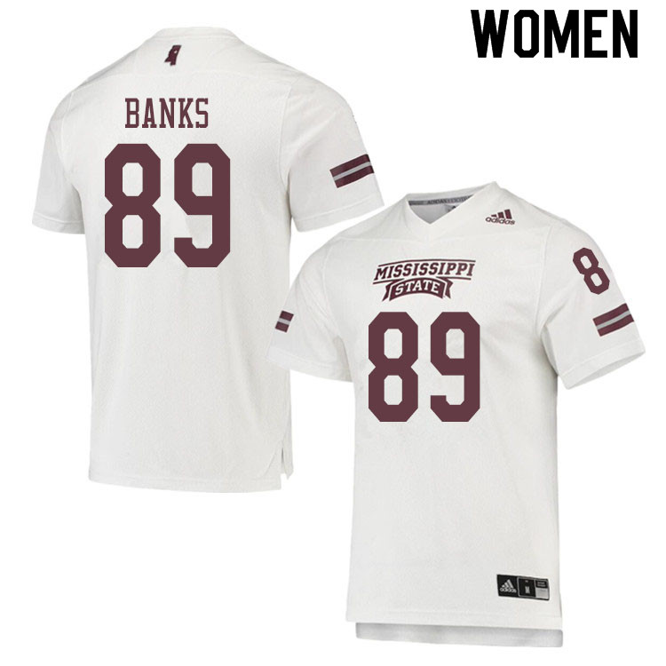 Women #89 Carson Banks Mississippi State Bulldogs College Football Jerseys Sale-White