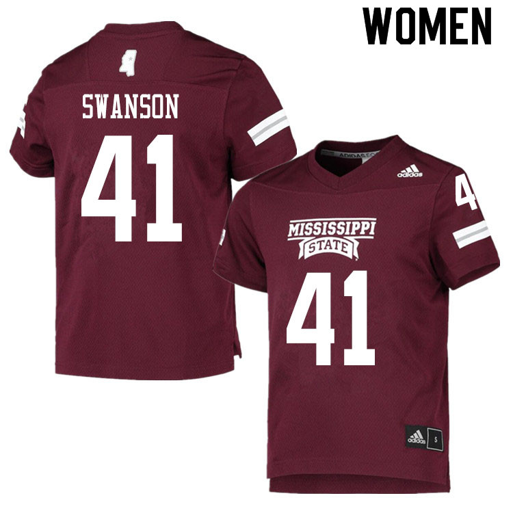 Women #41 Cody Swanson Mississippi State Bulldogs College Football Jerseys Sale-Maroon