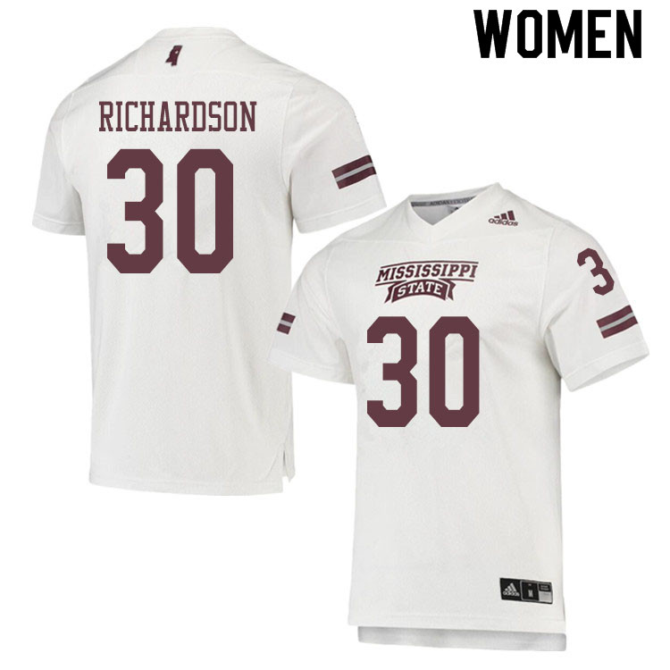 Women #30 Decamerion Richardson Mississippi State Bulldogs College Football Jerseys Sale-White