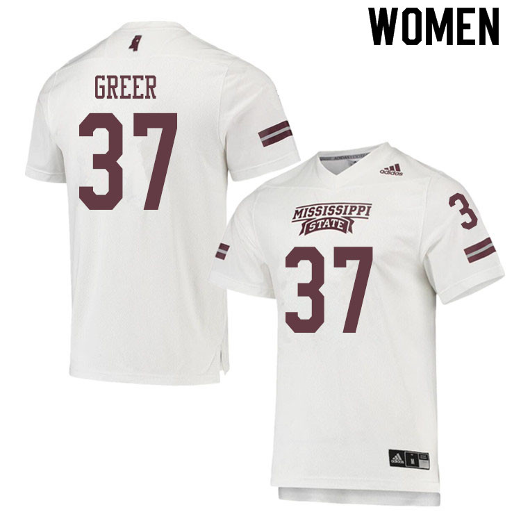 Women #37 Haze Greer Mississippi State Bulldogs College Football Jerseys Sale-White