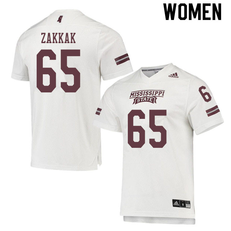 Women #65 JT Zakkak Mississippi State Bulldogs College Football Jerseys Sale-White