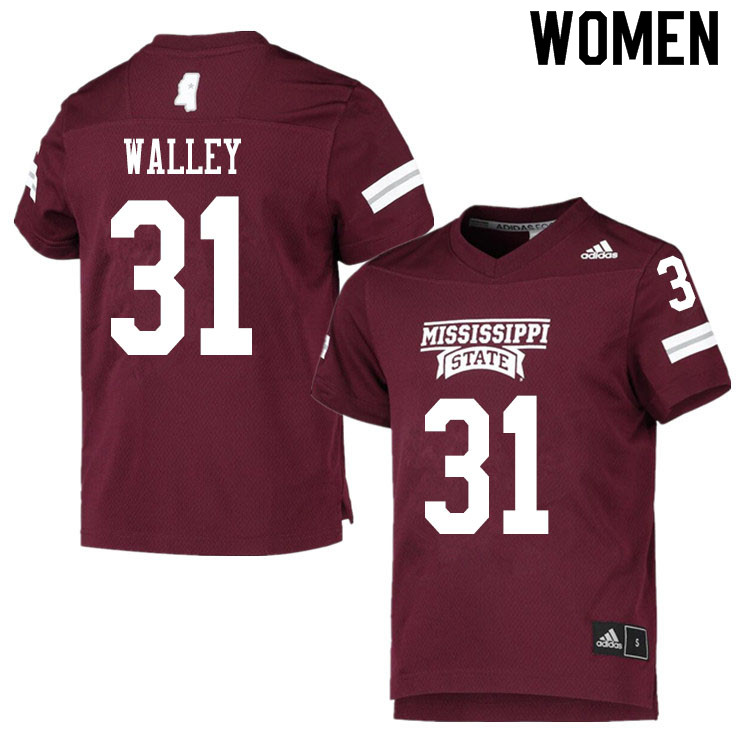 Women #31 Jaden Walley Mississippi State Bulldogs College Football Jerseys Sale-Maroon