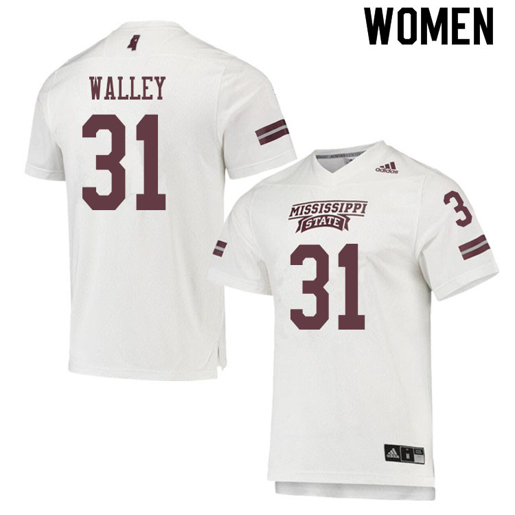 Women #31 Jaden Walley Mississippi State Bulldogs College Football Jerseys Sale-White