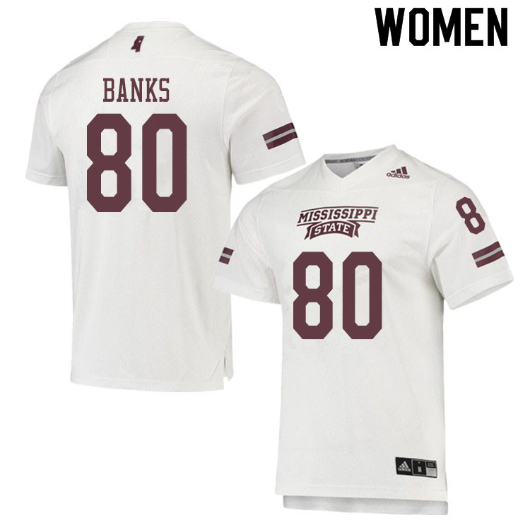 Women #80 Jay Banks Mississippi State Bulldogs College Football Jerseys Sale-White