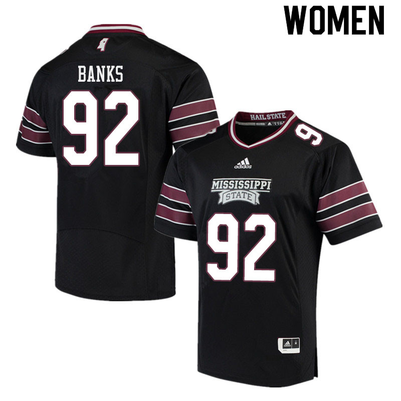 Women #92 Jevon Banks Mississippi State Bulldogs College Football Jerseys Sale-Black