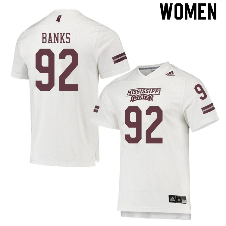 Women #92 Jevon Banks Mississippi State Bulldogs College Football Jerseys Sale-White