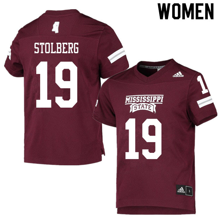 Women #19 Justin Stolberg Mississippi State Bulldogs College Football Jerseys Sale-Maroon