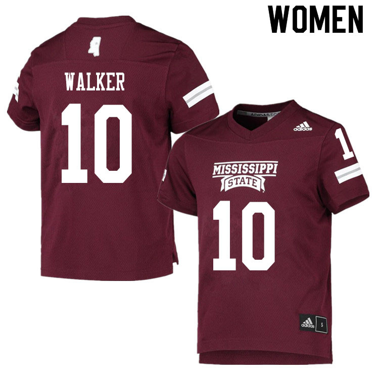 Women #10 Kareem Walker Mississippi State Bulldogs College Football Jerseys Sale-Maroon