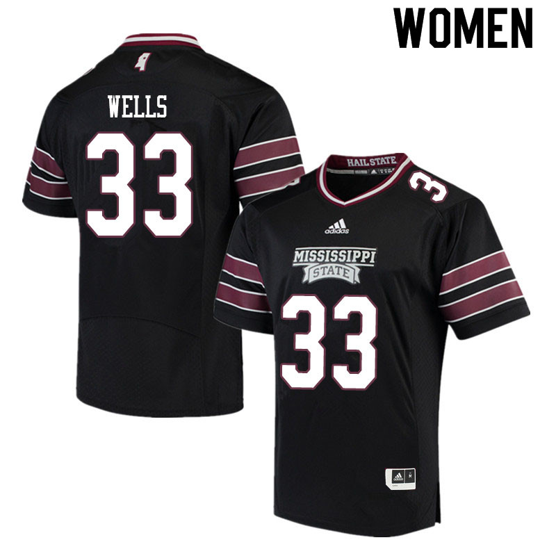 Women #33 Omni Wells Mississippi State Bulldogs College Football Jerseys Sale-Black