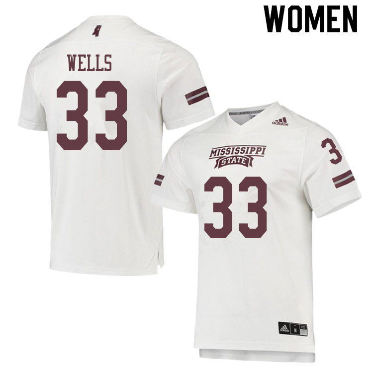 Women #33 Omni Wells Mississippi State Bulldogs College Football Jerseys Sale-White