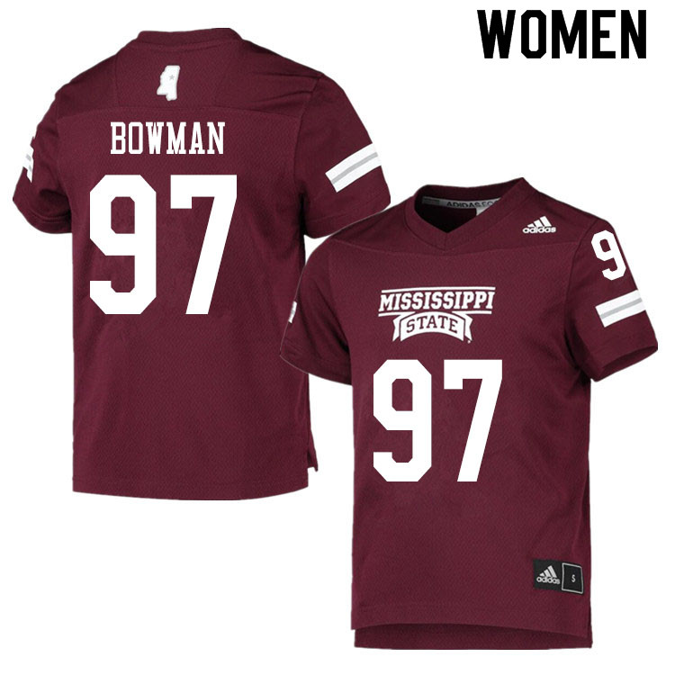 Women #97 Reed Bowman Mississippi State Bulldogs College Football Jerseys Sale-Maroon