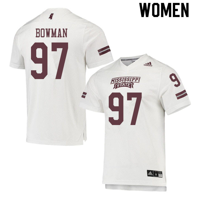 Women #97 Reed Bowman Mississippi State Bulldogs College Football Jerseys Sale-White