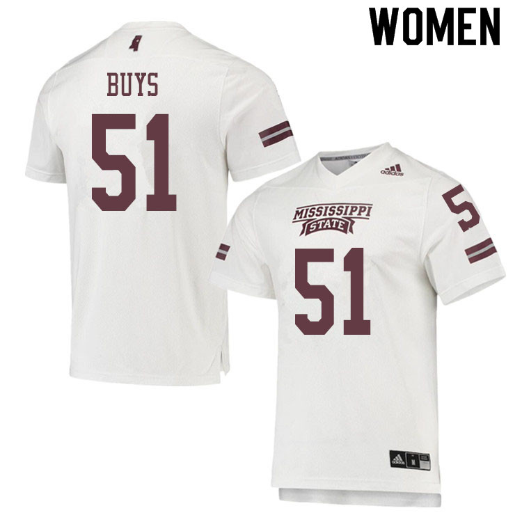 Women #51 Reed Buys Mississippi State Bulldogs College Football Jerseys Sale-White