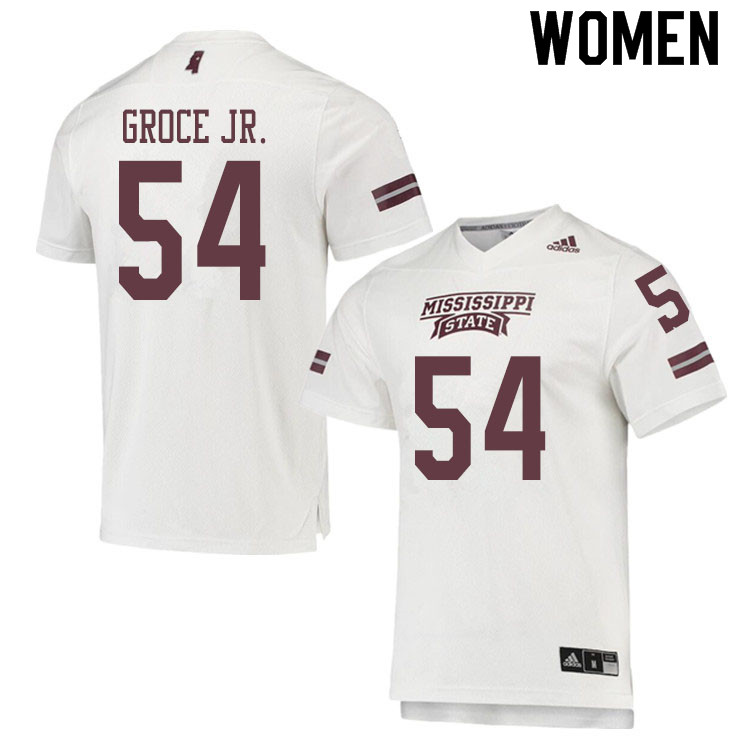 Women #54 Rodney Groce Jr. Mississippi State Bulldogs College Football Jerseys Sale-White