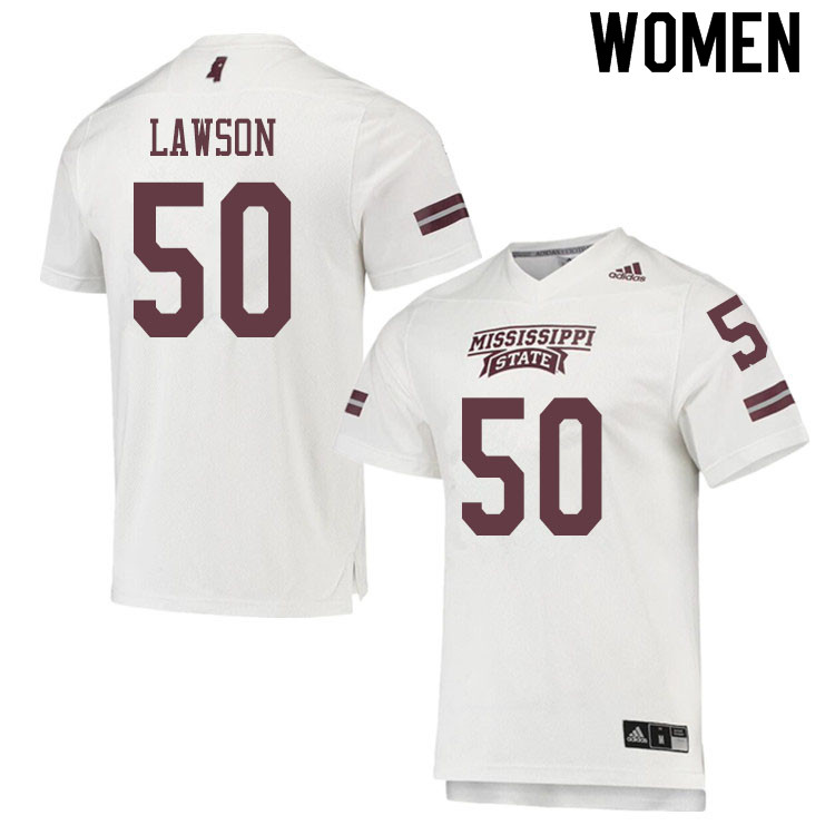 Women #50 Tre Lawson Mississippi State Bulldogs College Football Jerseys Sale-White