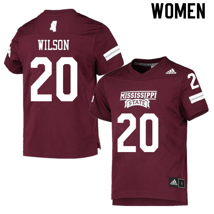 Women #20 Trip Wilson Mississippi State Bulldogs College Football Jerseys Sale-Maroon