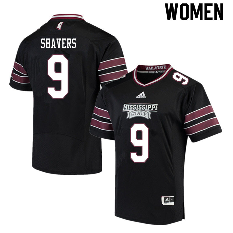 Women #9 Tyrell Shavers Mississippi State Bulldogs College Football Jerseys Sale-Black
