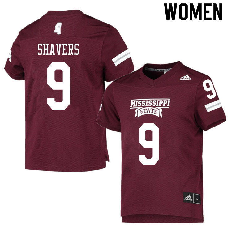 Women #9 Tyrell Shavers Mississippi State Bulldogs College Football Jerseys Sale-Maroon