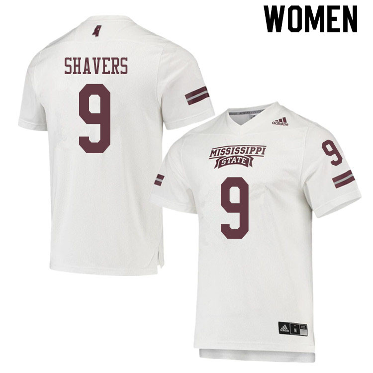 Women #9 Tyrell Shavers Mississippi State Bulldogs College Football Jerseys Sale-White