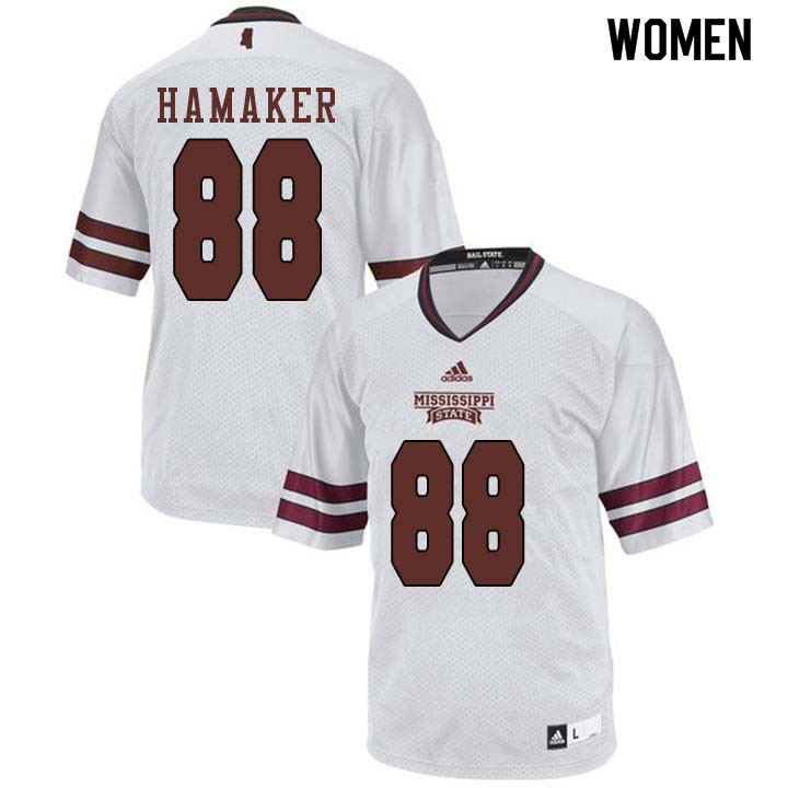 Women #88 Aaron Hamaker Mississippi State Bulldogs College Football Jerseys Sale-White