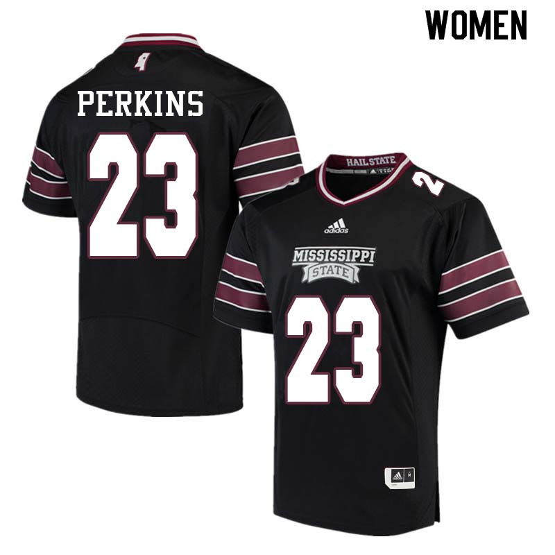 Women #23 Allen Perkins Mississippi State Bulldogs College Football Jerseys Sale-Black