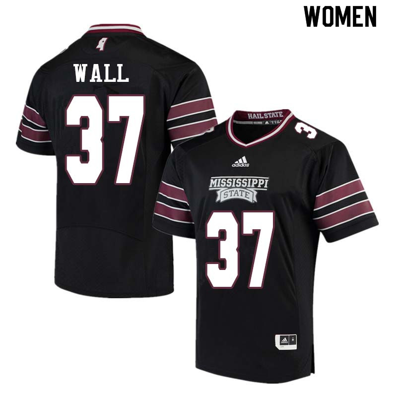 Women #37 Brad Wall Mississippi State Bulldogs College Football Jerseys Sale-Black