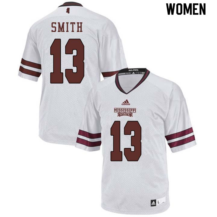 Women #13 Braden Smith Mississippi State Bulldogs College Football Jerseys Sale-White