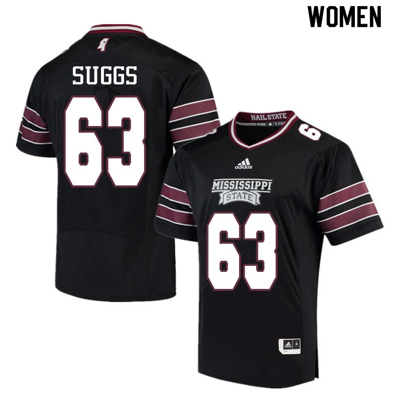 Women #63 Cordavien Suggs Mississippi State Bulldogs College Football Jerseys Sale-Black