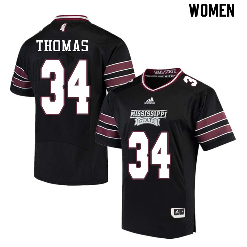 Women #34 Cory Thomas Mississippi State Bulldogs College Football Jerseys Sale-Black