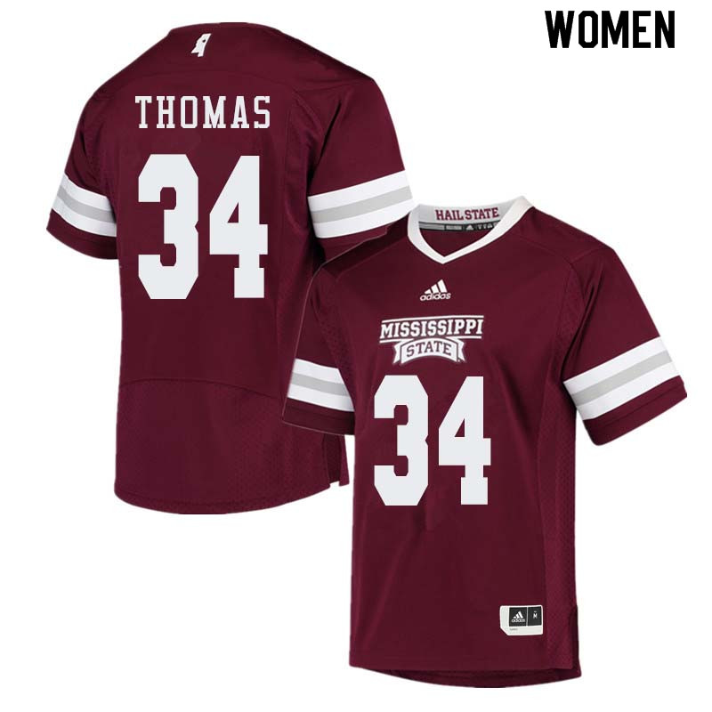 Women #34 Cory Thomas Mississippi State Bulldogs College Football Jerseys Sale-Maroon