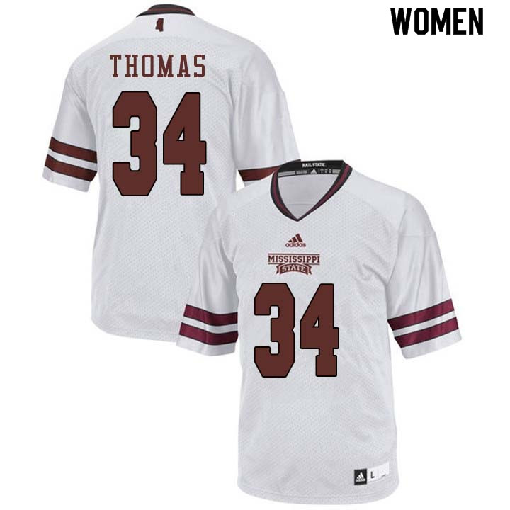 Women #34 Cory Thomas Mississippi State Bulldogs College Football Jerseys Sale-White