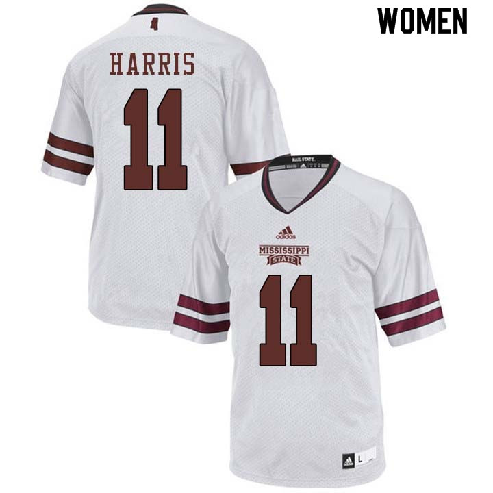 Women #11 Dezmond Harris Mississippi State Bulldogs College Football Jerseys Sale-White