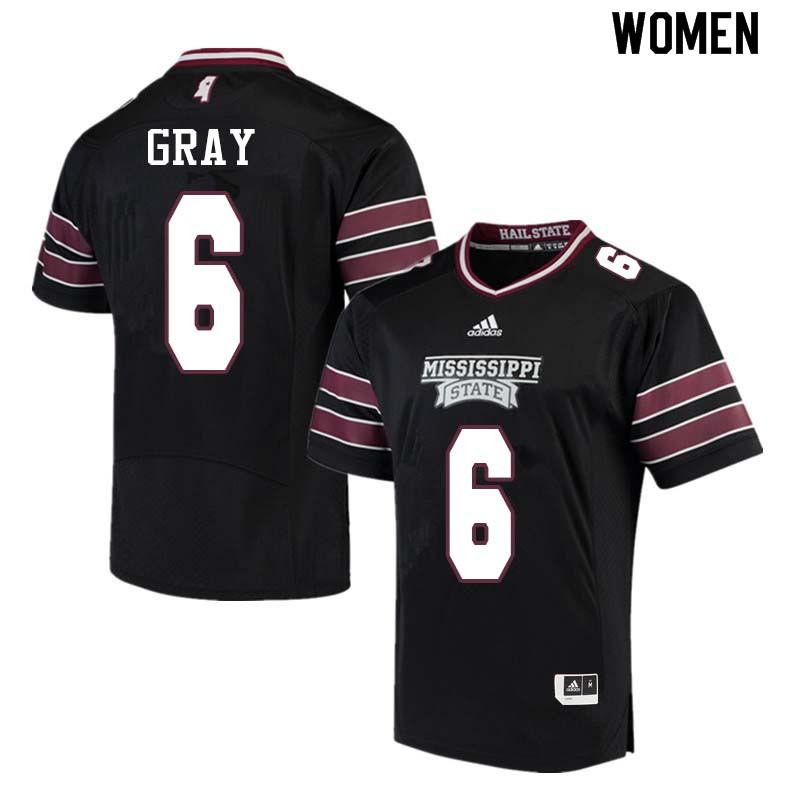 Women #6 Donald Gray Mississippi State Bulldogs College Football Jerseys Sale-Black