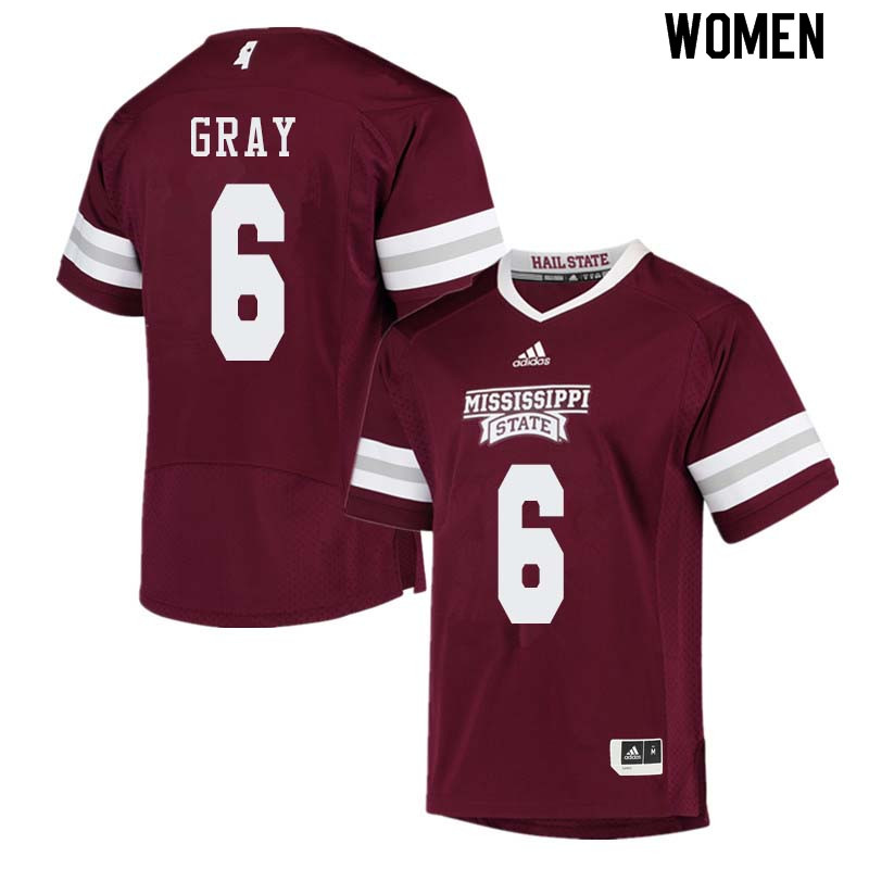 Women #6 Donald Gray Mississippi State Bulldogs College Football Jerseys Sale-Maroon