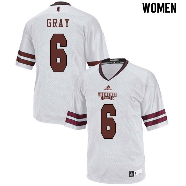 Women #6 Donald Gray Mississippi State Bulldogs College Football Jerseys Sale-White