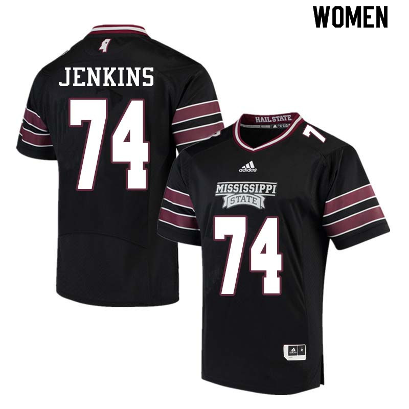 Women #74 Elgton Jenkins Mississippi State Bulldogs College Football Jerseys Sale-Black