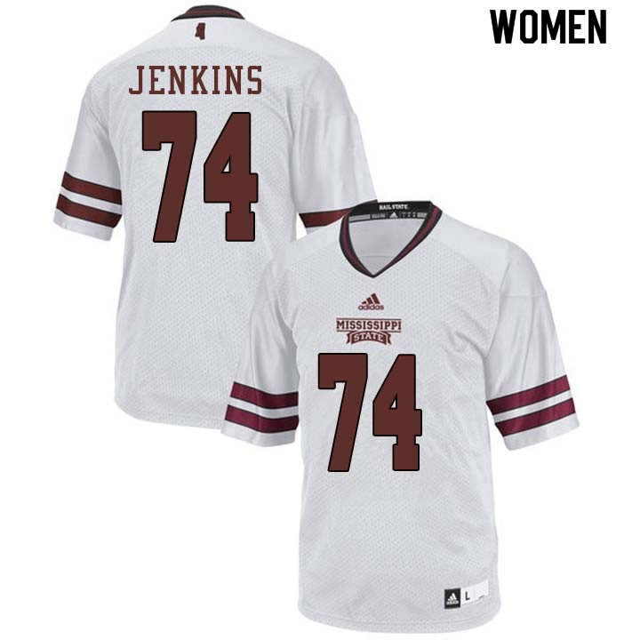 Women #74 Elgton Jenkins Mississippi State Bulldogs College Football Jerseys Sale-White
