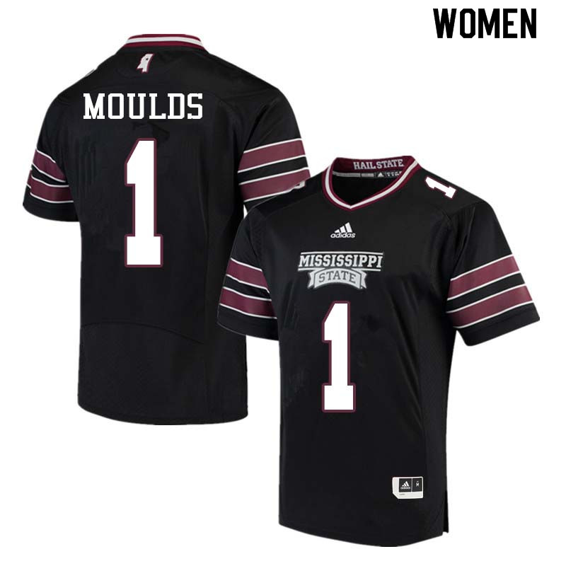 Women #1 Eric Moulds Mississippi State Bulldogs College Football Jerseys Sale-Black