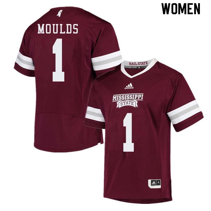 Women #1 Eric Moulds Mississippi State Bulldogs College Football Jerseys Sale-Maroon