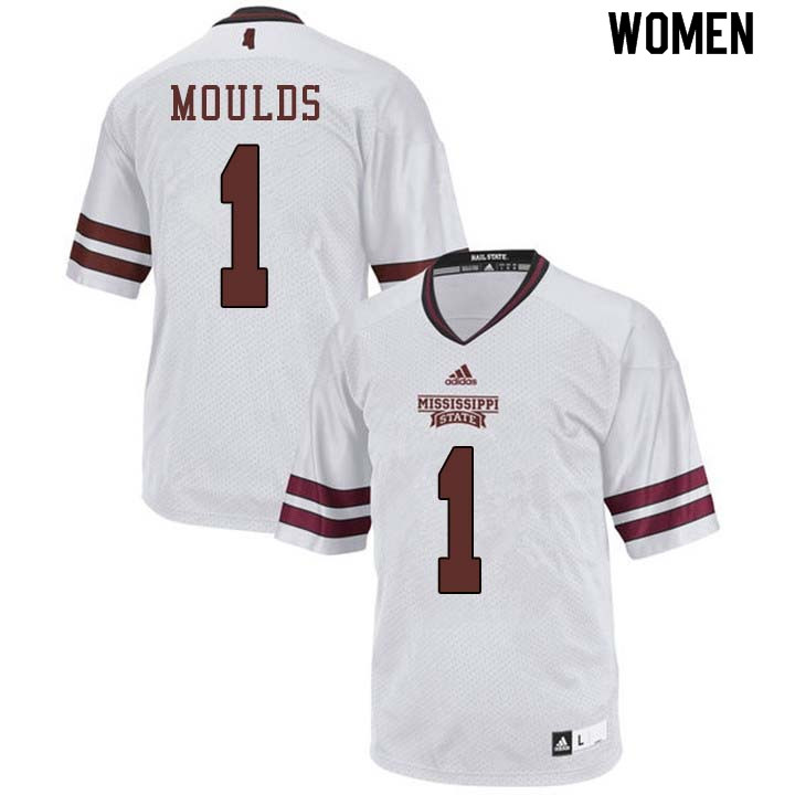Women #1 Eric Moulds Mississippi State Bulldogs College Football Jerseys Sale-White
