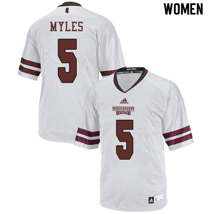 Women #5 Gabe Myles Mississippi State Bulldogs College Football Jerseys Sale-White