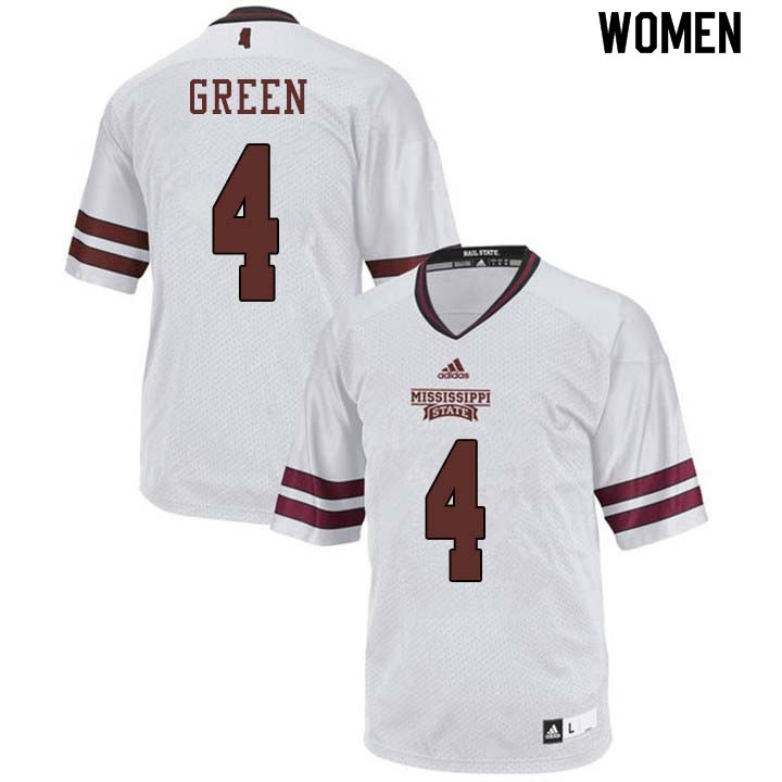 Women #4 Gerri Green Mississippi State Bulldogs College Football Jerseys Sale-White