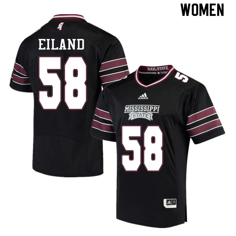 Women #58 Greg Eiland Mississippi State Bulldogs College Football Jerseys Sale-Black