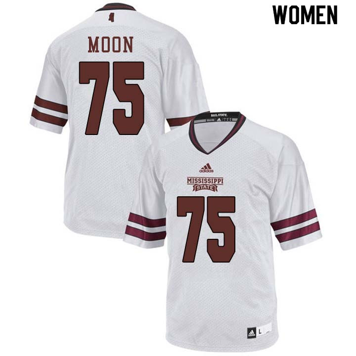 Women #75 Harrison Moon Mississippi State Bulldogs College Football Jerseys Sale-White